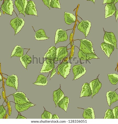 Gray background texture with birch leaves and branches - stock vector