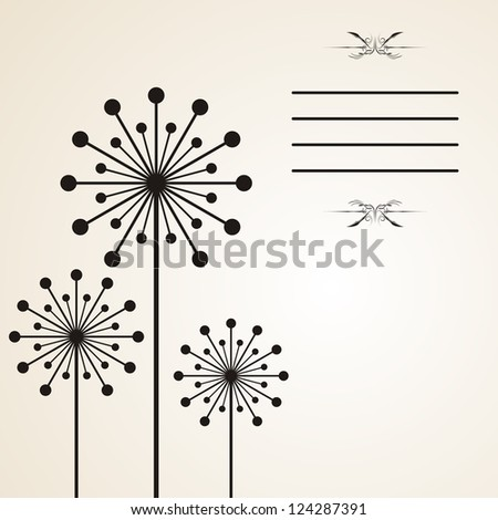 Gray background with dandelion and lines for text - stock vector