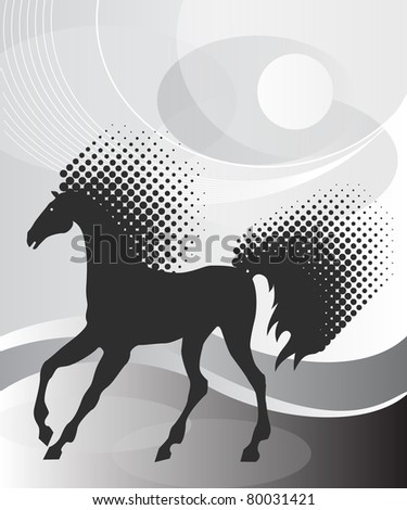 Gray background with horse - stock vector