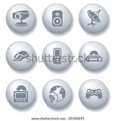 Gray ball set 21 - stock vector