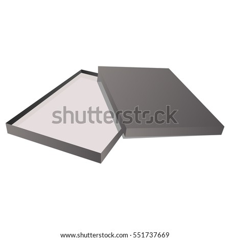 Gray box with cover isolated on white background. Black box with cover. Vector illustration.