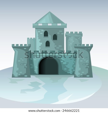 Gray brick castle vector.