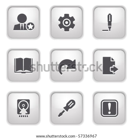 Gray button for internet 6 - stock vector