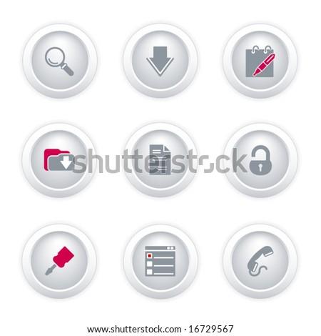 Gray button web icons, set 8 - stock vector