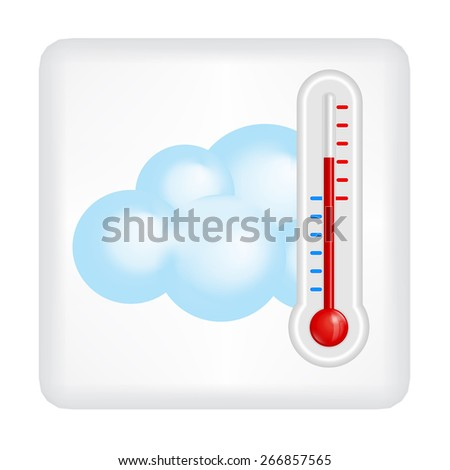 Gray button with blue cloud and red thermometer vector