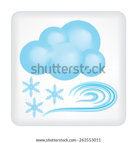 Gray button with blue cloud, blue wind and three snowflakes vector