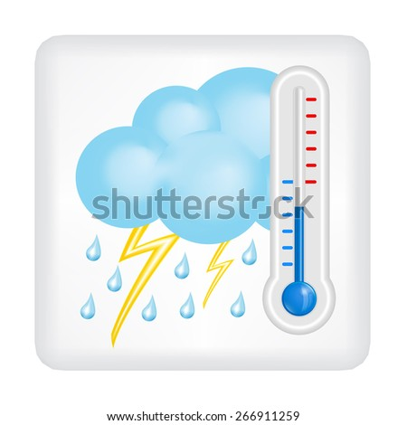Gray button with blue cloud, drops of rain, lightning and blue thermometer  vector - stock vector