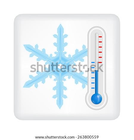 Gray button with blue snowflake and blue thermometer vector - stock vector