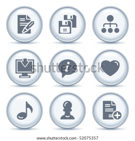 Gray button with icon 10 - stock vector