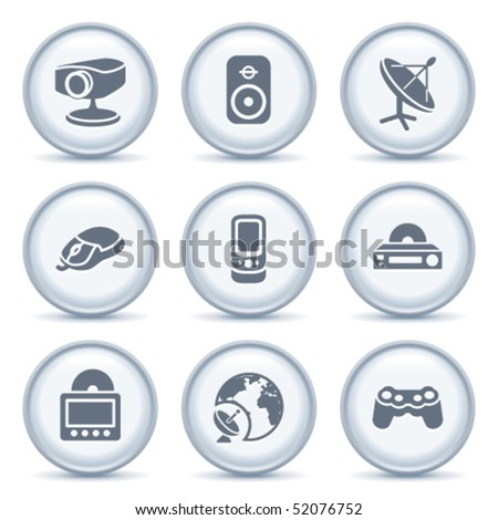 Gray button with icon 21 - stock vector