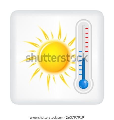 Gray button with yellow sun and blue thermometer vector - stock vector