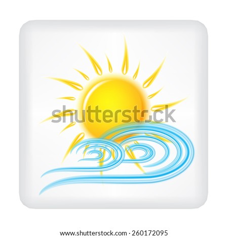 Gray button with yellow sun and blue wind vector
