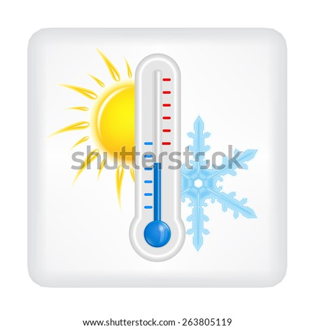 Gray button with yellow sun, blue snowflake and blue thermometer vector - stock vector