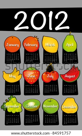Gray 2012 calendar drawing drawn on the floor of fruit - stock vector