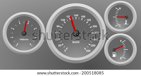 Gray car dash board, speedometer interface icons. Speed, power and / or fuel gauge meter. Vector image illustration, gray background dashboard with red arrow, eps10