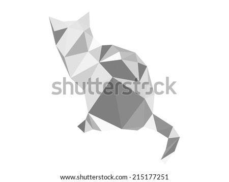 Gray cat from geometric elements - vector illustration - stock vector