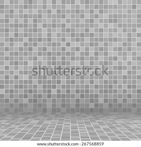 Gray ceramic tile mosaic in swimming pool - stock vector