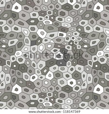 Gray chaotic mosaic seamless pattern, vector - stock vector