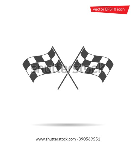 Gray Checkered flag icon. Motocross Modern, simple, flat sign. Sport, internet cross concept. Trendy finish vector symbol for web site design or button to mobile app. Logo illustration