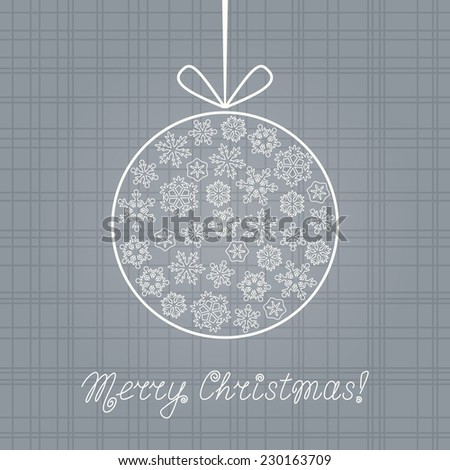 Gray Christmas card with Christmas ball made from beautiful snowflakes. Vector illustration