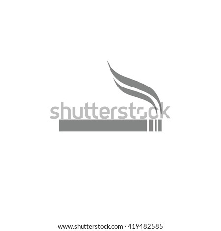 Gray cigarette vector icon. Allowed smoking sign - stock vector