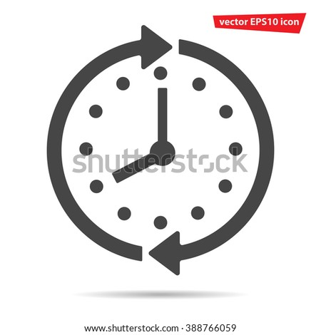 Gray Clock icon isolated on background. Modern simple flat time sign. Business, internet concept. Trendy line vector watch symbol for web site design or button to mobile app. Logo illustration  - stock vector