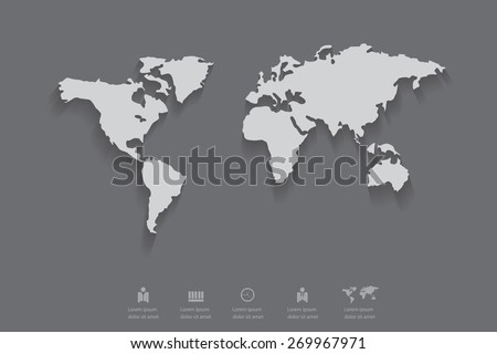 Gray color of world map with shadow,eps 10 vector. - stock vector