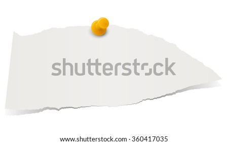 gray colored scrap of paper with pin needle - stock vector