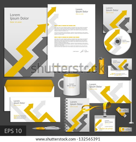 Gray corporate identity template with arrows. Vector company style for brandbook and guideline. EPS 10 - stock vector