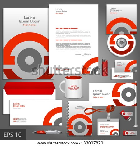 Gray corporate identity template with red round element. Vector company style for brandbook and guideline. EPS 10 - stock vector