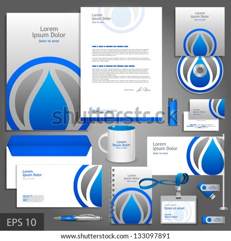 Gray corporate identity template with water drop. Vector company style for brandbook and guideline. EPS 10 - stock vector