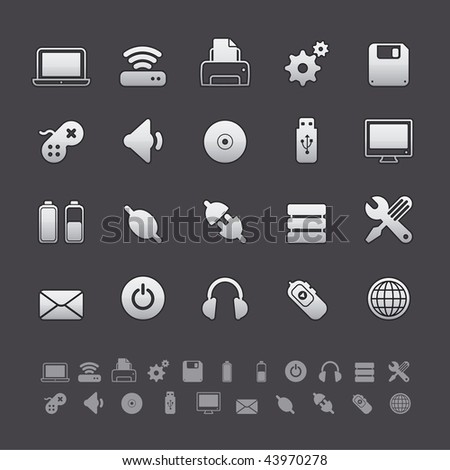Gray Deluxe Icon Sets - Computer Equipment Buttons in Adobe Illustrator EPS 8. For multiple applications. See more in my portfolio... - stock vector