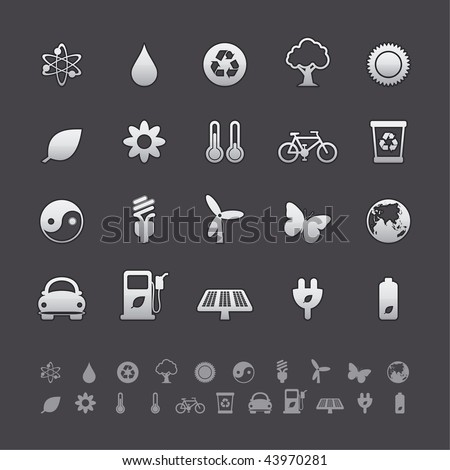 Gray Deluxe Icon Sets - Ecology Buttons in Adobe Illustrator EPS 8. For multiple applications. See more in my portfolio... - stock vector