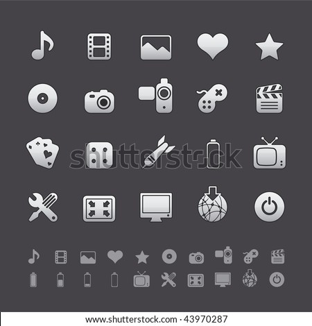 Gray Deluxe Icon Sets - Multimedia and Entertainment Buttons in Adobe Illustrator EPS 8. For multiple applications. See more in my portfolio... - stock vector