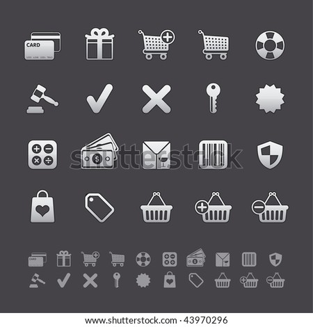 Gray Deluxe Icon Sets - Shopping and Business Buttons in Adobe Illustrator EPS 8. For multiple applications. See more in my portfolio... - stock vector