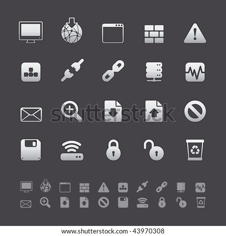 Gray Deluxe Icon Sets - Web and Internet Buttons in Adobe Illustrator EPS 8. For multiple applications. See more in my portfolio... - stock vector