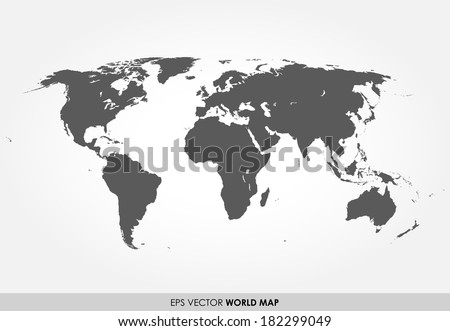 Gray detailed world map on white background - stock vector