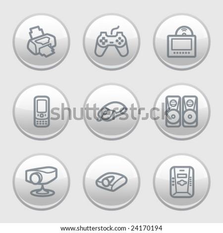 Gray disk web icons, set 21 - stock vector