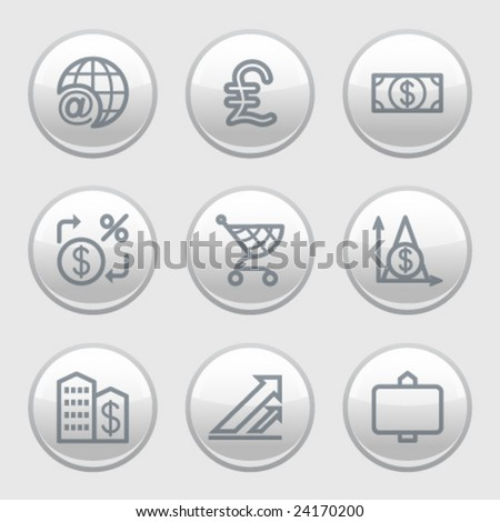 Gray disk web icons, set 23 - stock vector