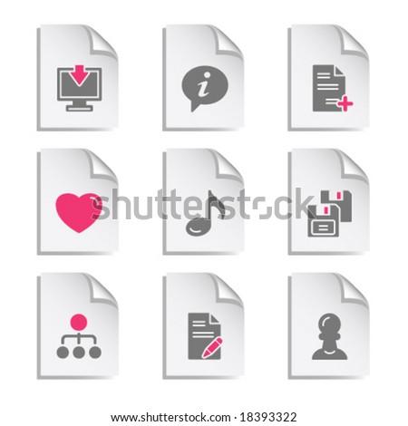 Gray document web icon, set 10 - stock vector