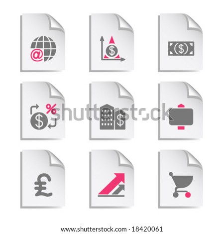 Gray document web icon, set 23 - stock vector