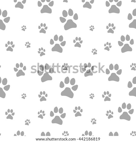 gray dog footstep seamless pattern on white background