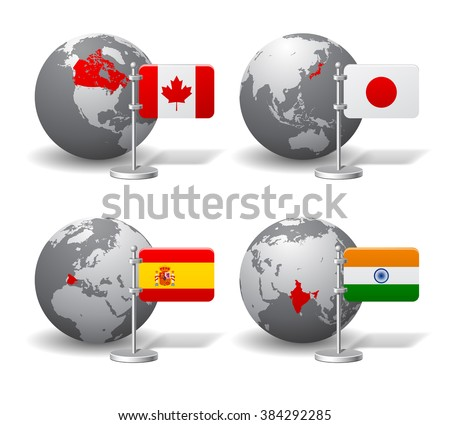 Gray Earth globes with designation of Canada, Japan, Spain and India location, with state flags. Vector illustration - stock vector