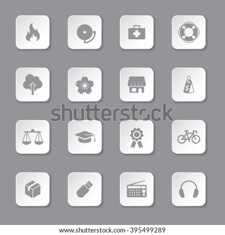gray flat safety and miscellaneous icon set on rounded rectangle button for web design, user interface (UI), infographic and mobile application (apps)