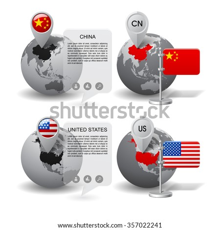 Gray globes with designation of China and United States location, with map markers and state table flags. Vector illustration - stock vector