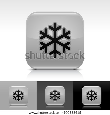 Gray glossy web button with low temperature black snowflake sign. Rounded square shape icon with shadow, reflection on white, gray, black background. - stock vector