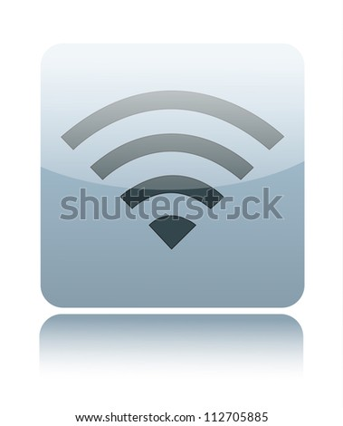 Gray glossy wireless or wifi sign - stock vector