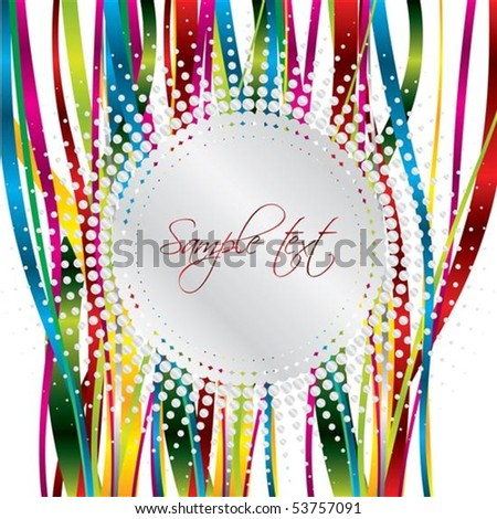 gray halftone on color ribbons - stock vector