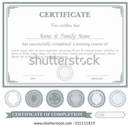Gray horizontally certificate template with additional design elements - stock vector