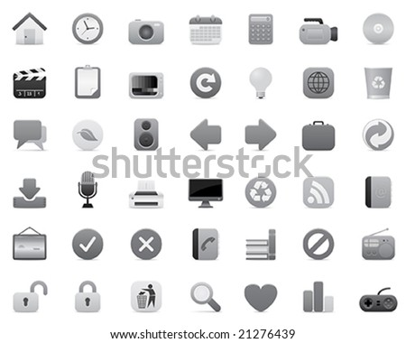 gray icon set (multimedia, internet and office) - stock vector